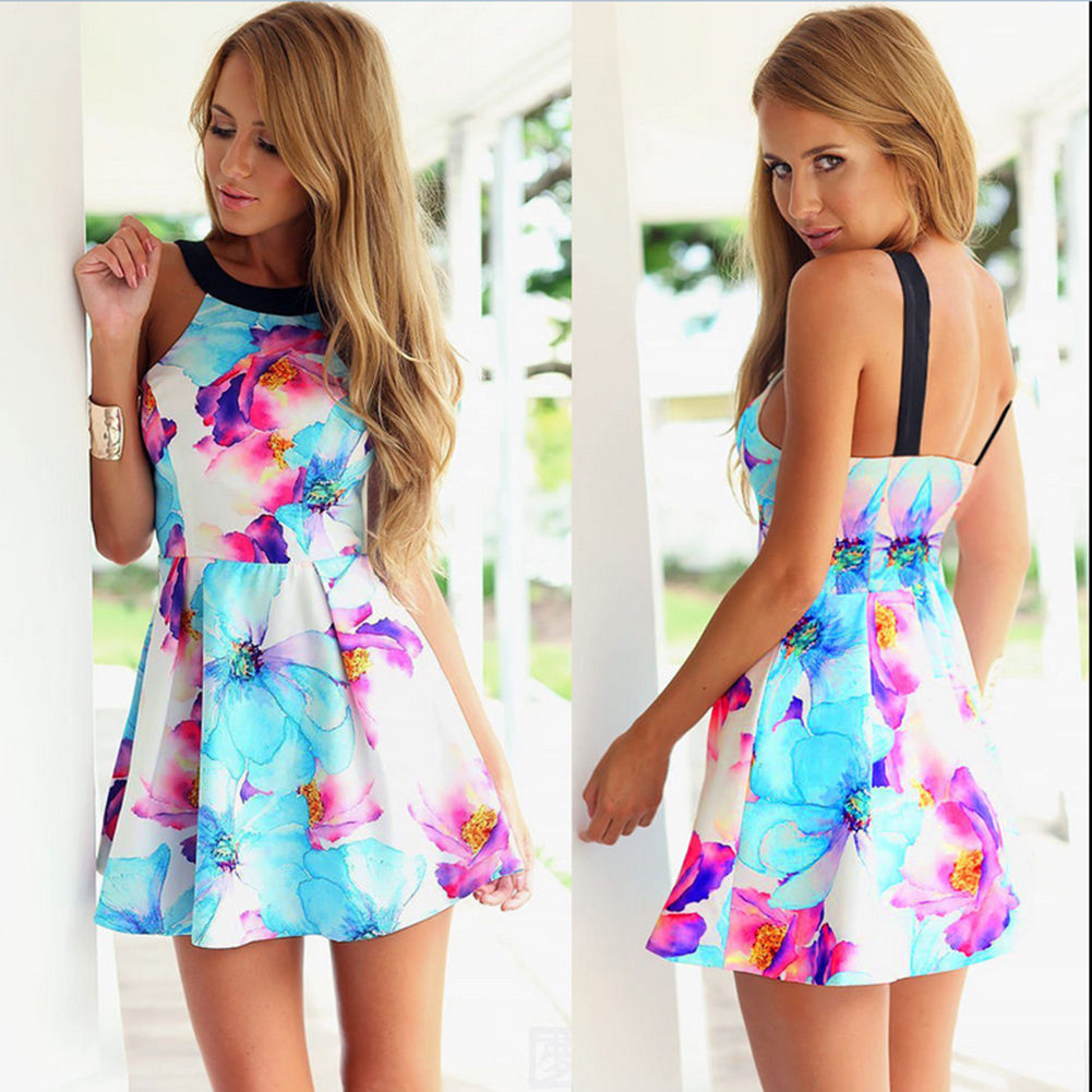 34f9d0c87e Summer Beach Dress Casual Sleeveless Evening Party Short Mini Dress ...