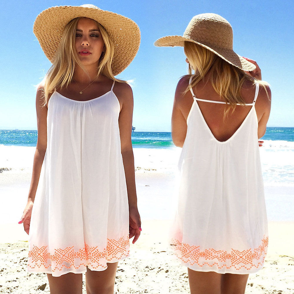 a8987c030dbe Sexy Women Backless Short Summer BOHO Evening Party Beach Mini Dress  Sundress