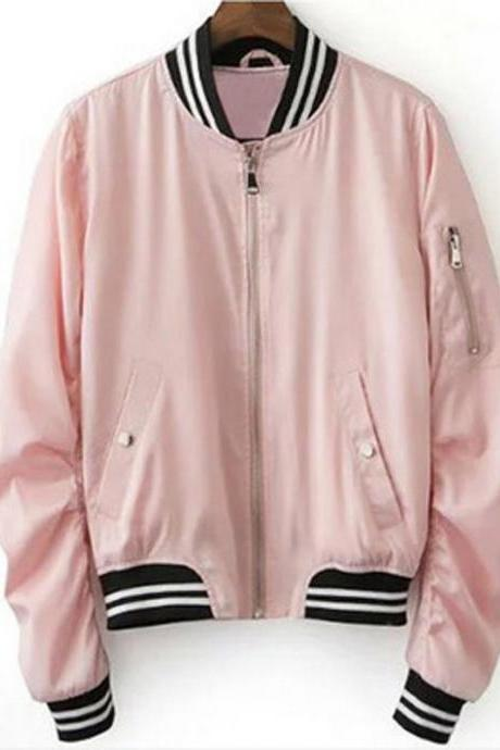 Pink Long Sleeve V-Neck Zipper Opening Jacket Baseball Jacket Tops